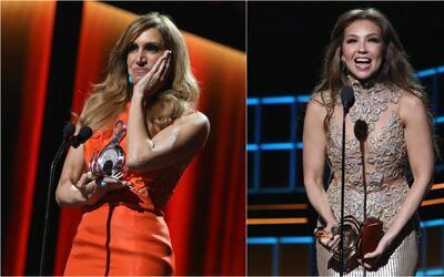 Thalía y Lili Estefan se encontraron en el camerino de Premio Lo Nuestro