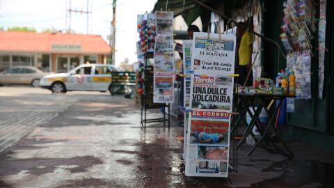 Puesto de periódicos en la Plaza Hildalgo de Nuevo Laredo.