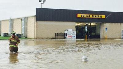 Inundaciones en Krum. (Foto: Krum Police Department).