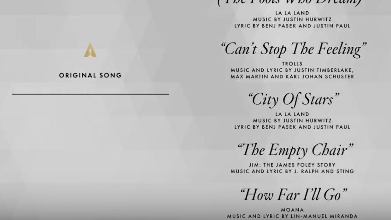 Nominados a la mejor canción