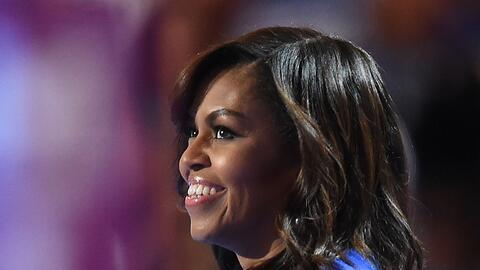 La primera dama, Michelle Obama, durante su discurso en la Convenci&oacu...