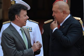Los presidentes de Colombia, Juan Manuel Santos; y Venezuela, Hugo Chávez.