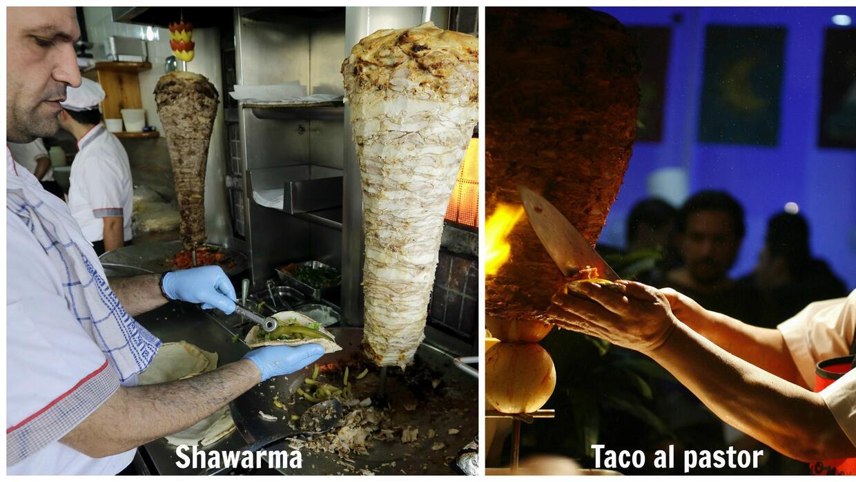 Sirviendo shawarma y tacos al pastor