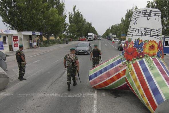 Vista de un puesta fronterizo con Rusia en Novoazovsk, Donetsk. El apara...