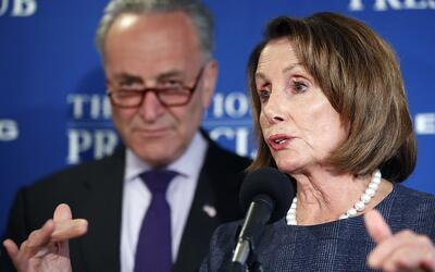House Minority Leader Nancy Pelosi and Senate Minority Leader Chuck Schu...