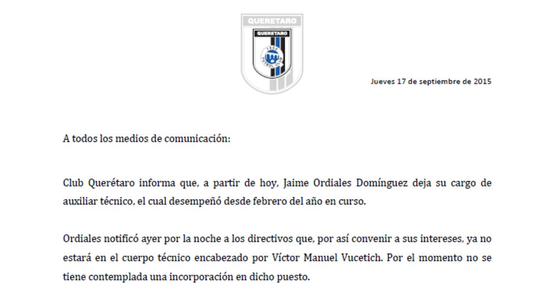 Comunicado Club Querétaro