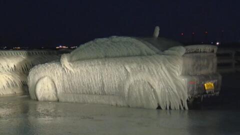 Autos congelados en Nueva York