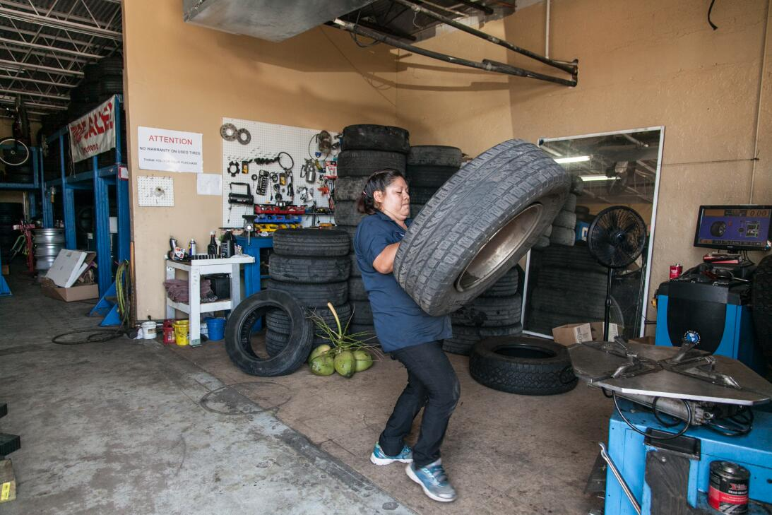 In photos: With her husband in ICE detention, she runs the family's tire...