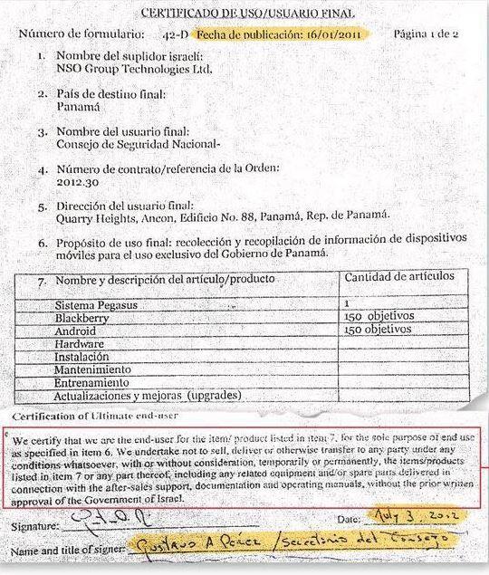 Certificado de Usuario Final, firmado por el gobierno de Panamá para el...
