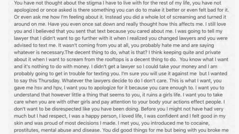 Aquí el fragmento que se reproduce de la carta suicida de Cat White en e...