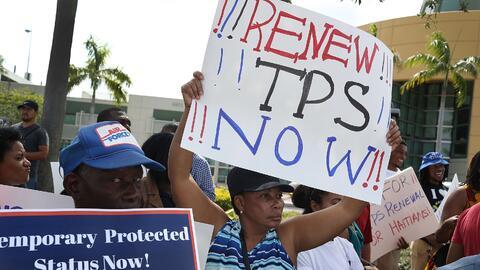 Una protesta en Miami por la renovación del TPS.
