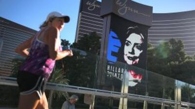 Cartel publicitario del debate demócrata en Las Vegas