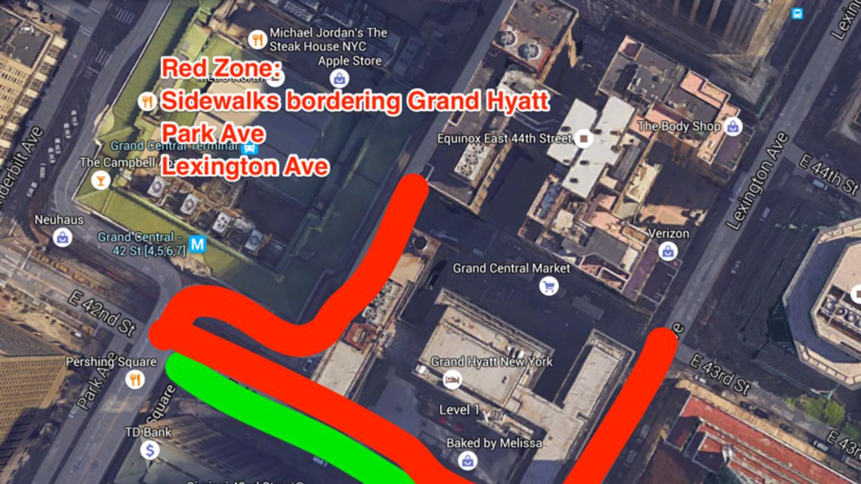 Mapa de las zonas permitidas para los manifestantes.