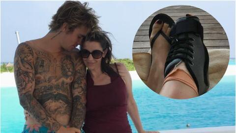 La mamá de Justin Bieber se rompió un pie en plenas vacaciones con el ca...