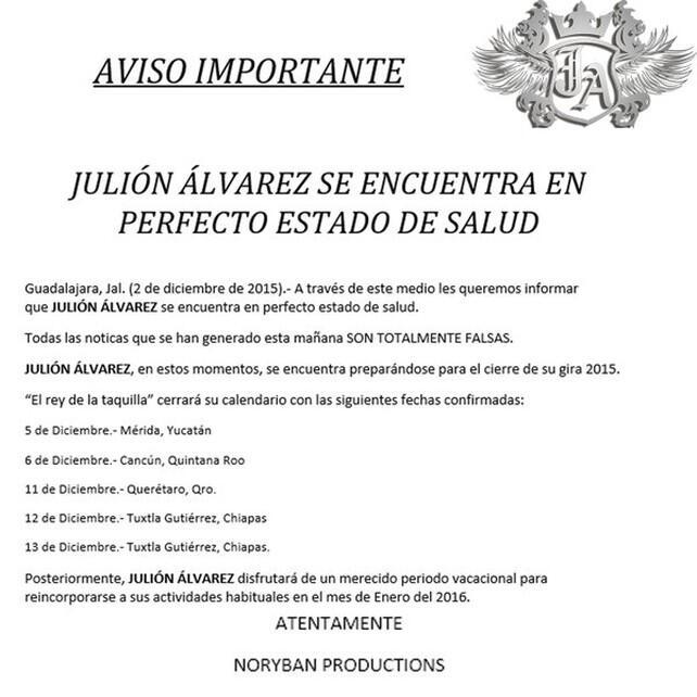 Comunicado de 2015 donde aclaran la supuesta muerte de Julión Álvarez.