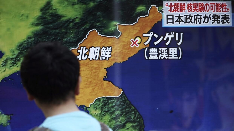 La television surcoreana muestra un mapa donde muestra la ubicaci&oacute...