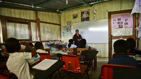 Una escuela rural en Oaxaca, una de las entidades más pobres ubic...