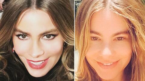 Sofia Vergara con maquillaje y sin maquillaje