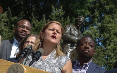 La líder del Concejo de la ciudad de Nueva York, Melissa Mark-Viv...