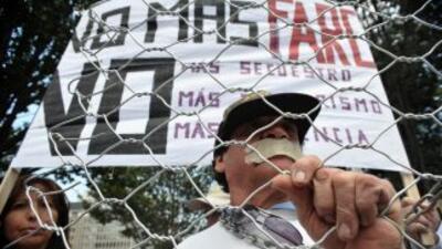 Manifestación contra la guerrilla de las FARC en Bogotá.