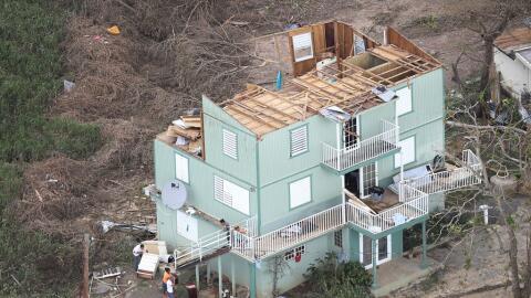 Casa destruida por el huracán María en Puerto Rico.