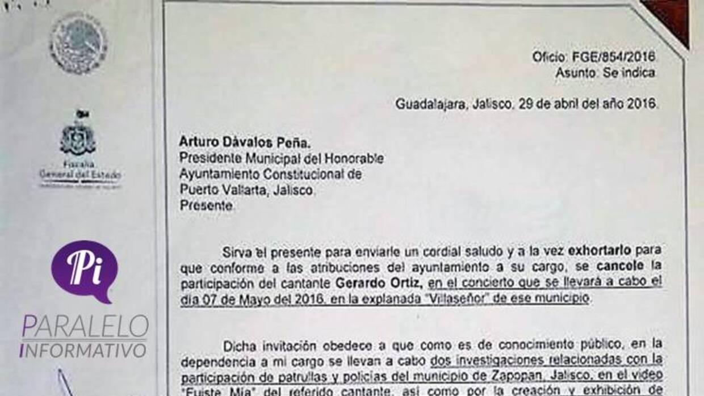 Documento oficial de la Fiscalía de Jalisco