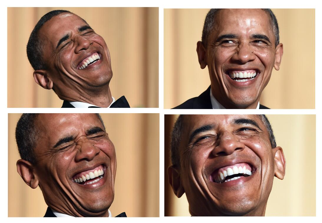 This combination of pictures show US President Barack Obama laughing as...