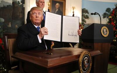 El presidente Donald Trump firmó el reconocimiento de Jerusal&eac...