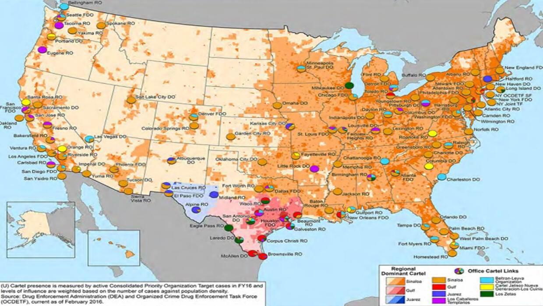 En este mapa elaborado por la DEA en noviembre de 2016 se han coloreado...