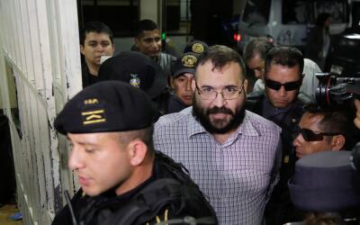 Javier Duarte durante su segunda audiencia en Guatemala