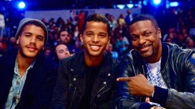 Giovani y Jonathan dos Santos con Chris Tucker, NBA All-Star Game 2018