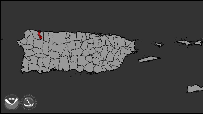 En rojo, la zona comprometida por la falla de la represa de Guajataca.