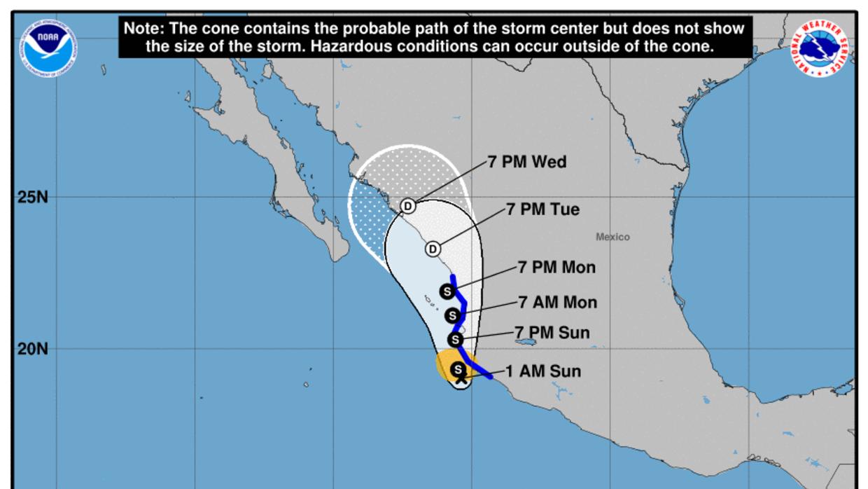 La tormenta tropical Pilar se formó frente a las costas del oeste de Méx...