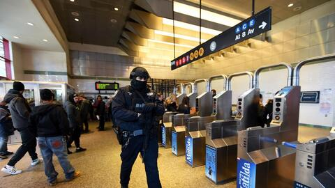 Police on the New York City metro