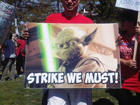 Pancartas de la huelga.