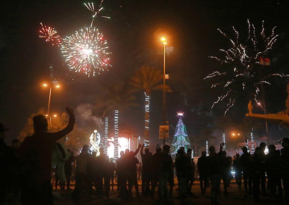 Así se vio la celebración del Año Nuevo en las calles de Bagdad, Irak.