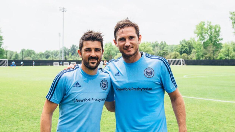 Frank Lampard y David Villa en entrenamiento de NYCFC