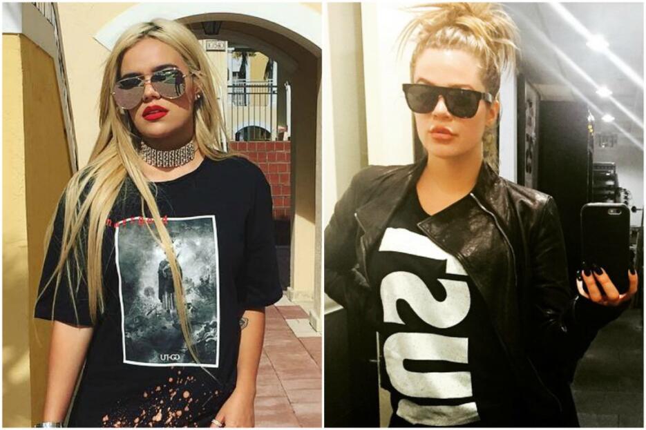 Karol G y Khloé Kardashian parecen gemelas, sus estilos son muy similares.