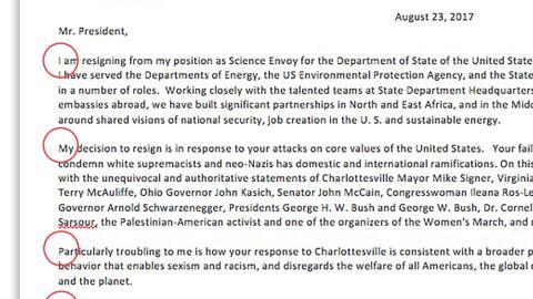 Un mensaje oculto en la carta de renuncia del profesor Daniel M Kammen c...