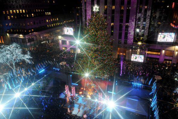 Con sus 85 pies de alto, el gran árbol se iluminó al mismo tiempo que lo...
