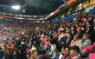 Fans packed the stadium in Pachuca Monday.