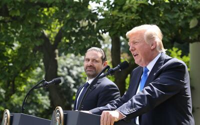 Donald Trump en la conferencia de prensa junto al primer ministro liban&...