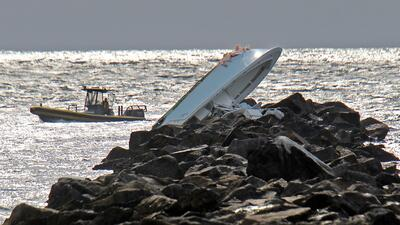 Lugar del accidente en el rompeolas de South Beach.