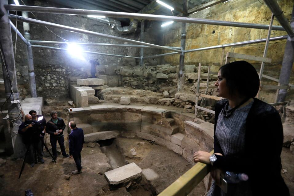 Reporters visit the recently discovered ancient roman theatre from the s...