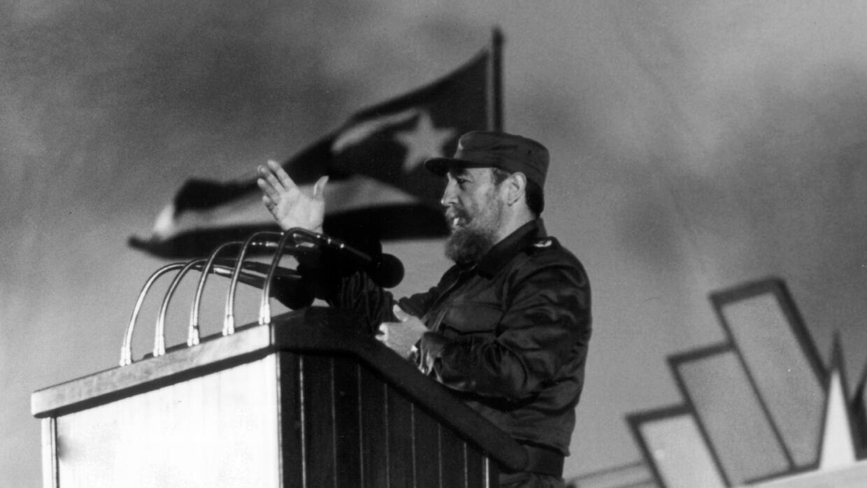 Fidel Castro durante un discurso en la Habana en 1988.