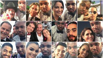 El fan más fan de Premio Lo Nuestro logró más de 50 fotos con los famosos en la alfombra magenta