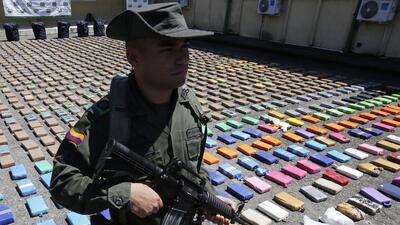 Decomiso de un cargamento de droga en Colombia.