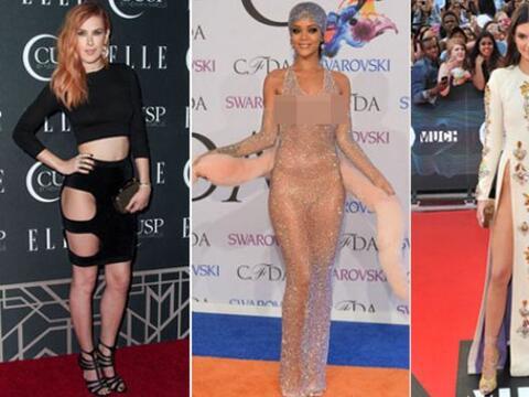 Sus vestidos son tan reveladores que han preferido no usar ropa interior...
