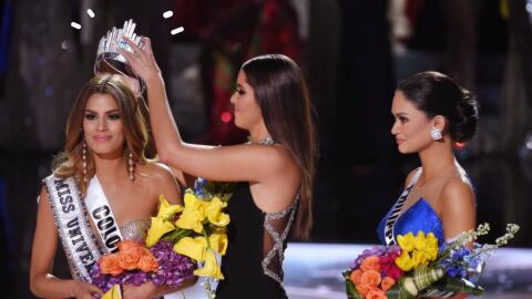 The 2015 Miss Universe Pageant Miss Colombia Ariadna Gutierrez and Pia A...