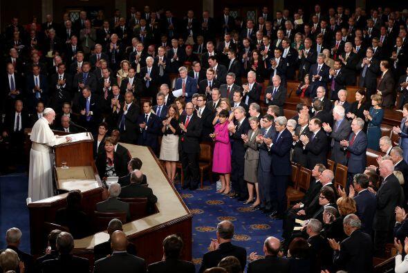 El pontífice en la sesión conjunta del Congreso, el primer Papa en una r...